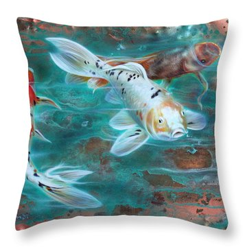 Copper Koi Throw Pillow