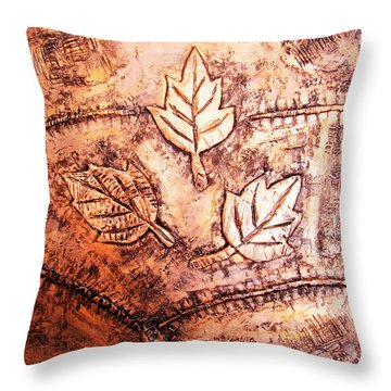 Copper Leaves Embossed Throw Pillow by Abhishek Das