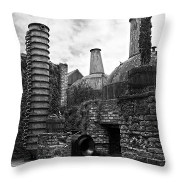 Copper Pot Stills And Column Still At Lockes Distillery Bw Throw Pillow