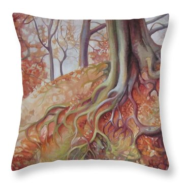 Copper Rustle Throw Pillow by Elena Oleniuc