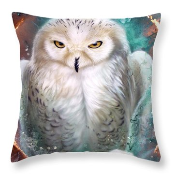 Copper Snowy Owl Throw Pillow