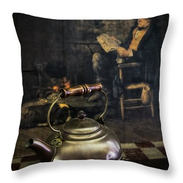 Copper Teapot Throw Pillow by Debra and Dave Vanderlaan