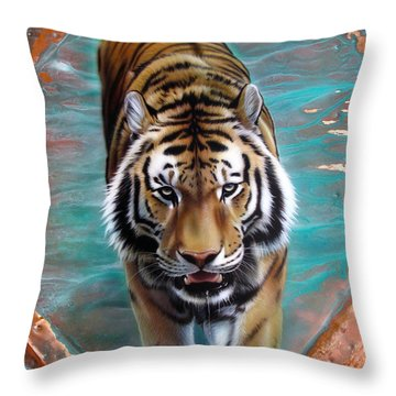 Copper Tiger 3 Throw Pillow