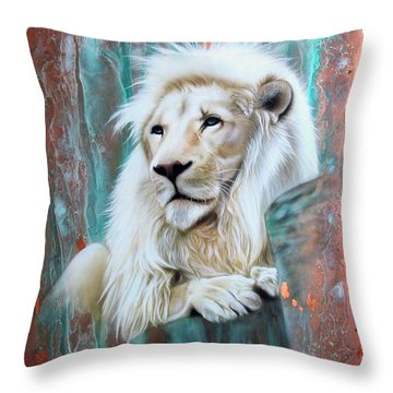 Copper White Lion Throw Pillow