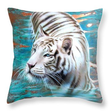 Copper White Tiger Throw Pillow