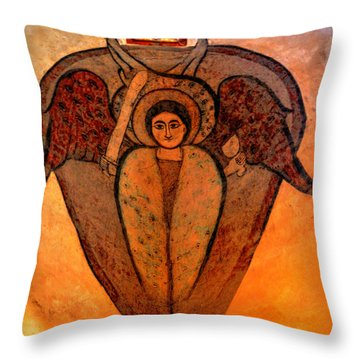 Throw Pillow featuring the photograph Coptic Archangel by Nigel Fletcher-Jones