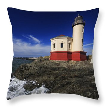Coquille River Lighthouse 3 Throw Pillow