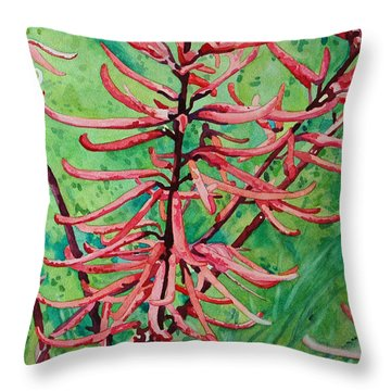 Coral Bean Flowers Throw Pillow