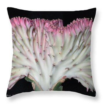 Coral Cactus Throw Pillow