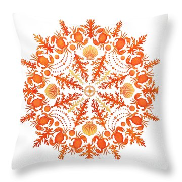 Coral Crab Mandala Throw Pillow
