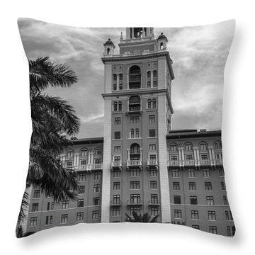 Coral Gables Biltmore Hotel In Black And White Throw Pillow
