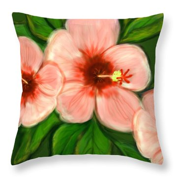Coral Hibiscus  Throw Pillow by Christine Fournier