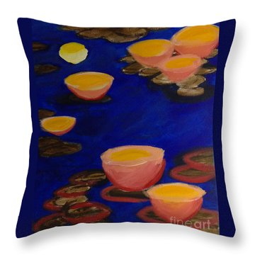 Throw Pillow featuring the painting Coral Lily Pond by Anita Lewis