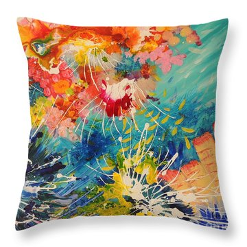 Throw Pillow featuring the painting Coral Madness by Lyn Olsen