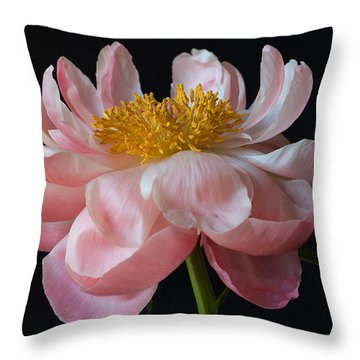Coral Peony Throw Pillow