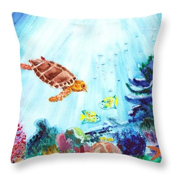 Throw Pillow featuring the painting Coral Reef by Donna Walsh