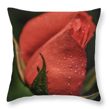 Coral Rosebud Throw Pillow