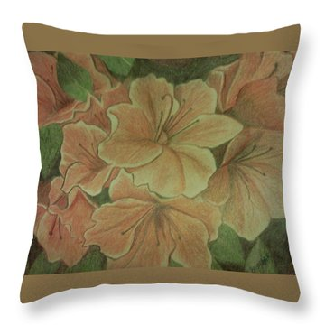 Coral Sunburst Azaleas Throw Pillow by Christy Saunders Church