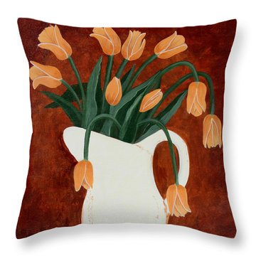 Coral Tulips In A Milk Pitcher Throw Pillow by Barbara Griffin