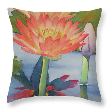 Throw Pillow featuring the painting Coral Waterlilies by Judy Mercer