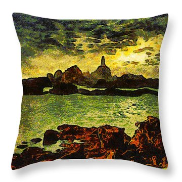 Corbiere Lighthouse Throw Pillow by Unknown