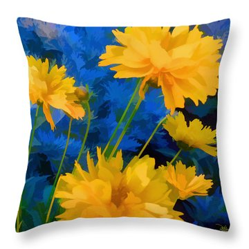 Coreopsis - Yellow And Blue Throw Pillow