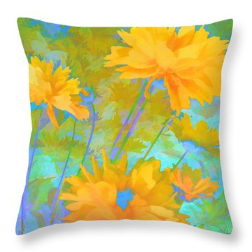 Coreopsis - Yellow And Green Throw Pillow