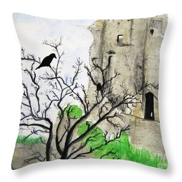 Corfe Castle And Crow Throw Pillow