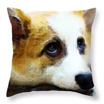 Corgi Art - That Look Throw Pillow by Sharon Cummings
