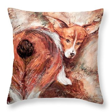 Throw Pillow featuring the painting Corgi Butt by Patricia Lintner
