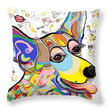 Corgi Cutie Throw Pillow by Eloise Schneider