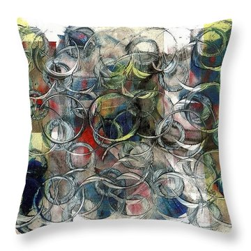 Corks And Bottlecaps Throw Pillow by Lesley Fletcher