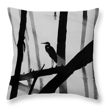 Cormorant And The Heron  Bw Throw Pillow