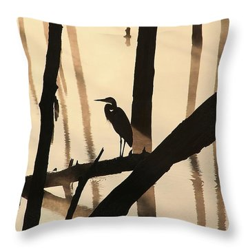 Cormorant And The Heron Throw Pillow