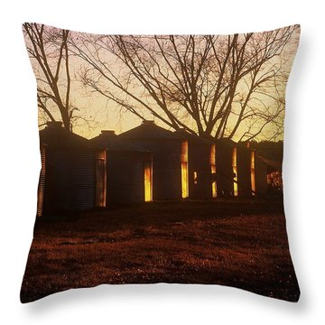 Throw Pillow featuring the photograph Corn Cribs At Sunset by Rodney Lee Williams