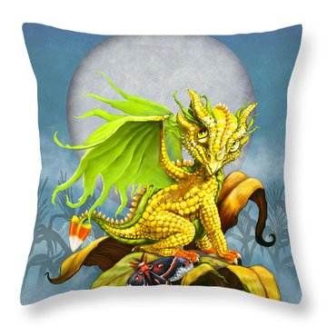Corn Dragon Throw Pillow