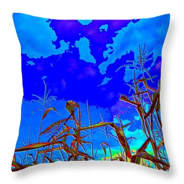 Throw Pillow featuring the digital art Corn Field And Sky 3 by Lyle Crump