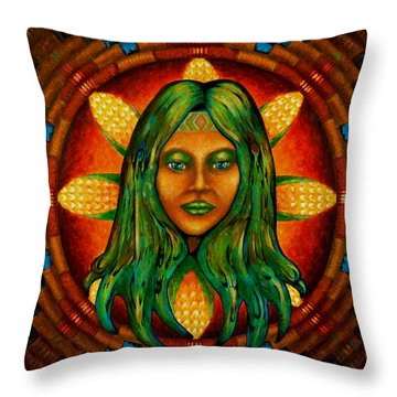 Corn Maiden Throw Pillow