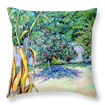 Throw Pillow featuring the painting Corn Stalk And Apple Tree  Autumn Lovers by Asha Carolyn Young