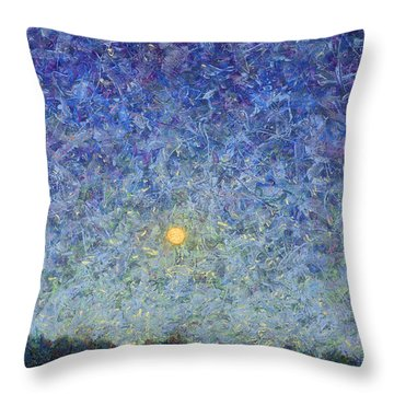 Throw Pillow featuring the painting Cornbread Moon by James W Johnson