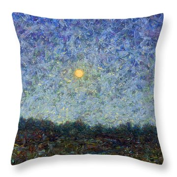 Throw Pillow featuring the painting Cornbread Moon - Square by James W Johnson