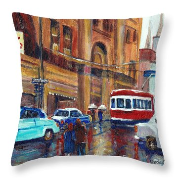 Corner St.catherine And Union Streets-fifties Montreal-vintage Street Scene Throw Pillow by Carole Spandau