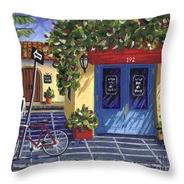 Throw Pillow featuring the painting Corner Store by Val Miller