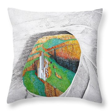 Throw Pillow featuring the painting Cornered Stones by A  Robert Malcom