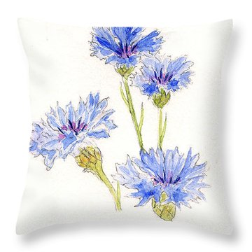 Throw Pillow featuring the painting Cornflowers by Stephanie Grant