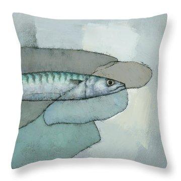Cornish Mackerel Throw Pillow