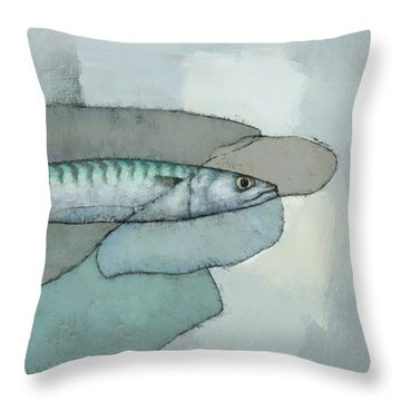 Cornish Mackerel Throw Pillow