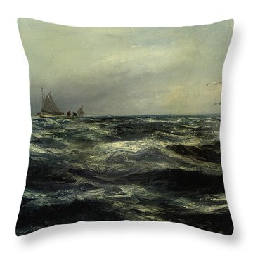 Cornish Sea And Working Boat Throw Pillow by Charles William Hemy