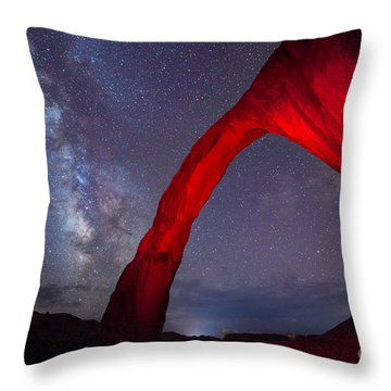 Throw Pillow featuring the photograph Corona Arch Milk Way Red Light by Michael Ver Sprill