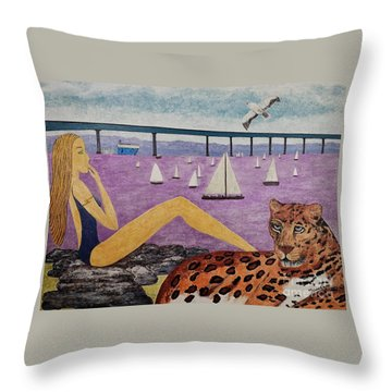 Throw Pillow featuring the painting Coronado Bridge   San Diego by Jasna Gopic